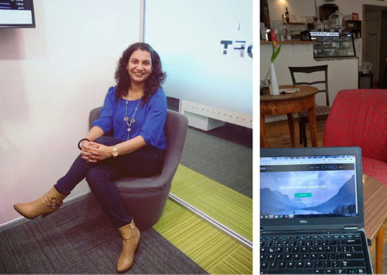 Fareen Shaikh, portrait and office space. Cafe in Neukölln